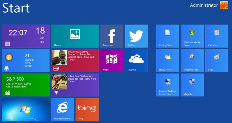 โปรแกรมจำลอง UI Windows 8