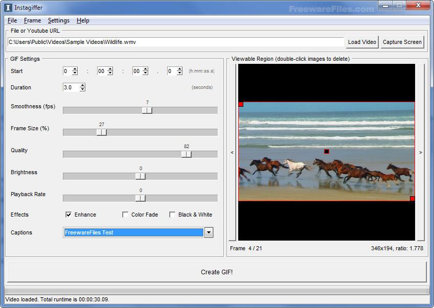 โปรแกรมสร้างไฟล์ GIF จากไฟล์ VDO
