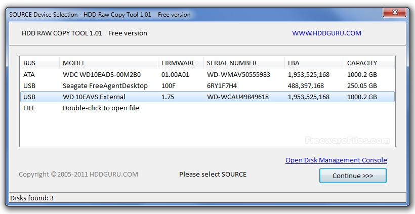 HDD Raw Copy Tool Portable 1.10