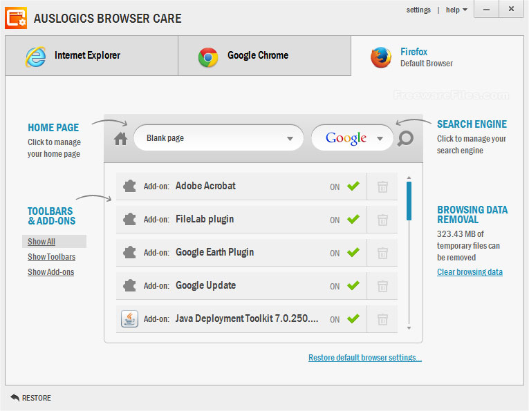 Auslogics Browser Care 1.3